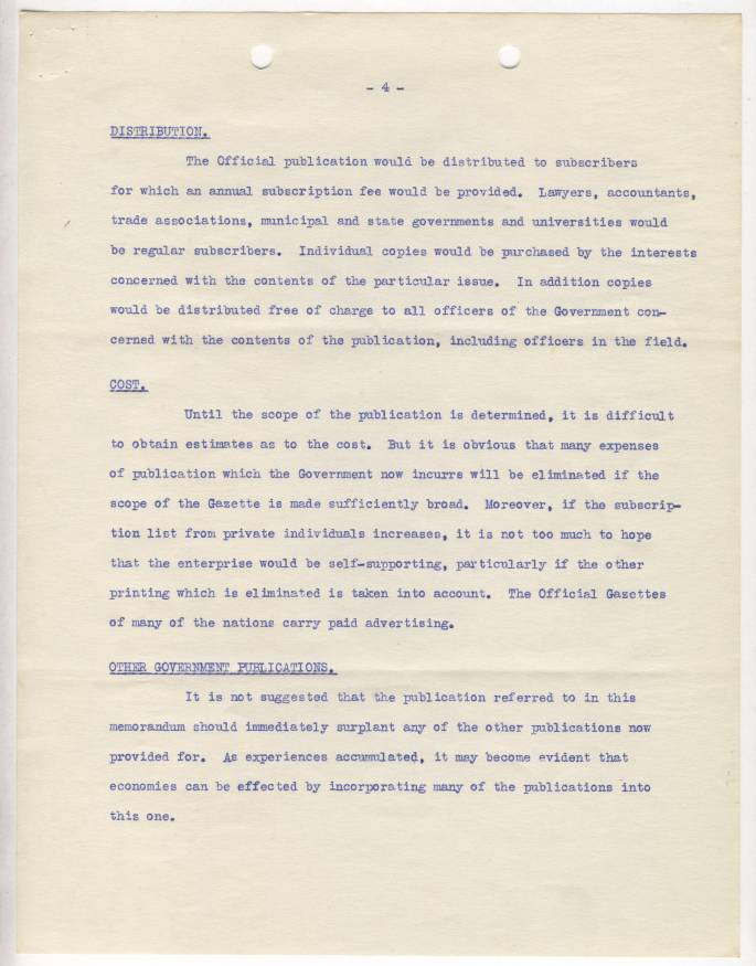 RG 64, A1 61, file 8 - John Laylin - Laylin Memo Reasons for Official Gazette, April 13, 1934 - page 4