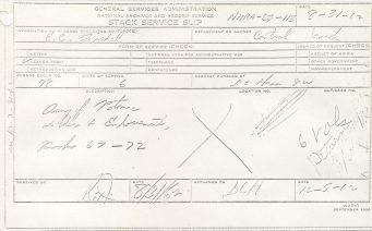 Pull Slip for E. C. Fishel, whose records were stolen by the Murphys