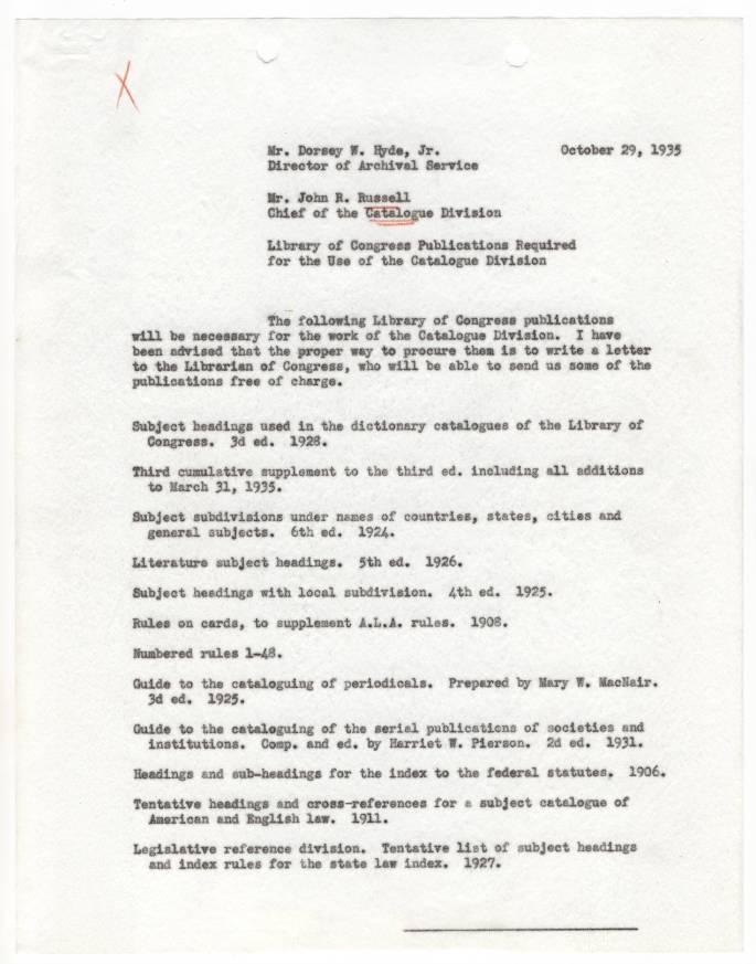 Russell Memo re LC Publications for Div. of Cataloging, Oct. 1935 - RG 64, A1 36