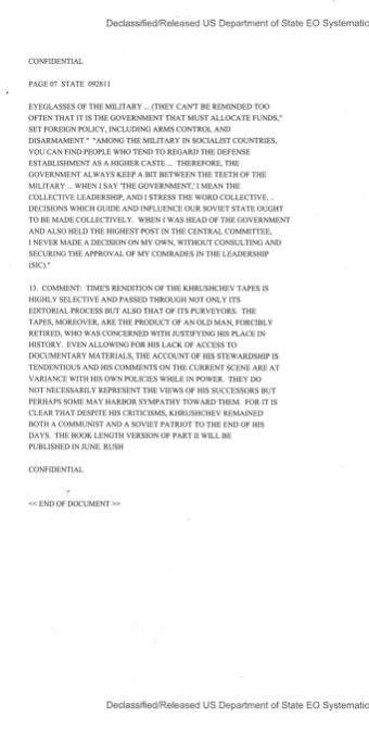 Department of State to Embassy Moscow, Telegram 092811, May 6, 1974. pp. 1-7.