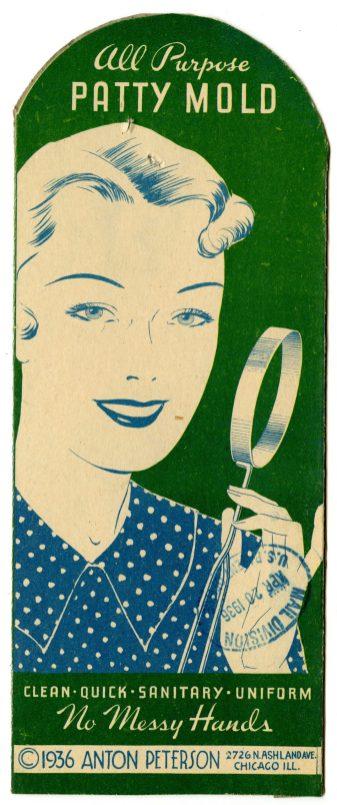 47533 - All Purpose Patty Mold - Anton Peterson, 1936, NAID 19077092