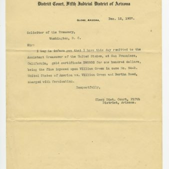 Acknowledgement of Receiving Gold Certificate from William Greene, 12/12/1907