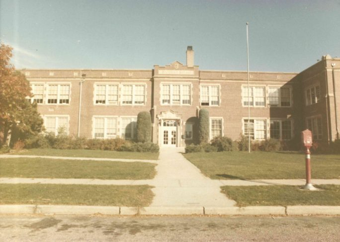 """Image of Stedman Elementary School with the caption """"An example of later evidence submitted to the court; 1973 site surveys of Denver schools. Stedman, still open today, is located in North Park Hill."""""""