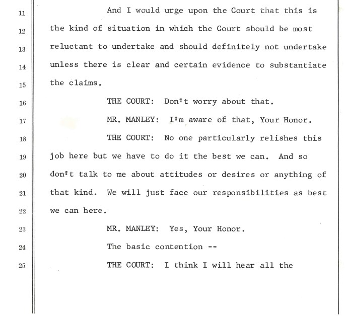 Image of document with the caption: An example from the thousands of pages of transcripts; a seemingly testy exchange from the fall of 1969.