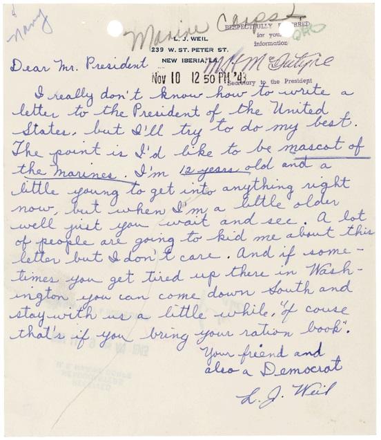 Letter of L. J. Weil to President Roosevelt, November 10, 1943