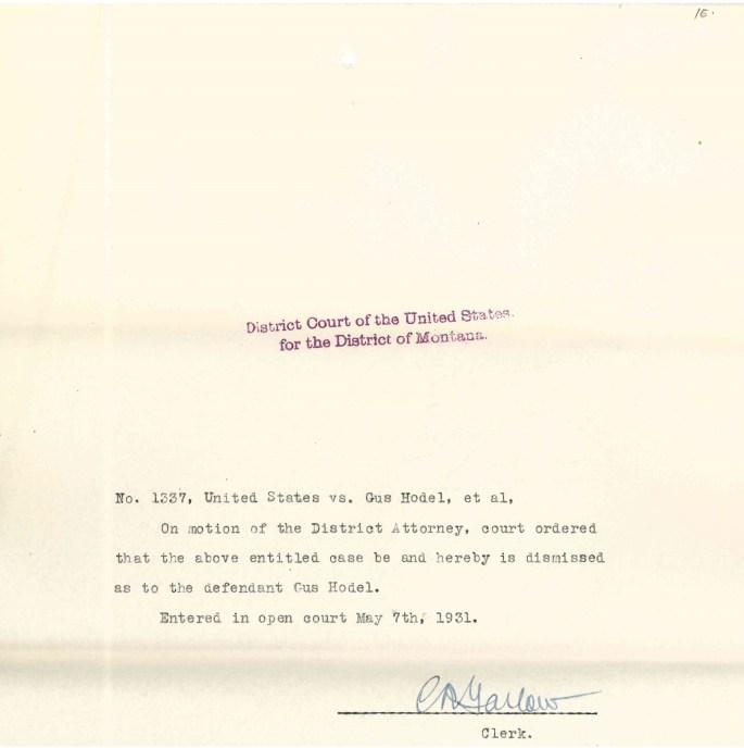 "Hodel's dismissal in case #1337 ""Criminal Case Files, 1924-1968"" NAID 568166, Box 41"
