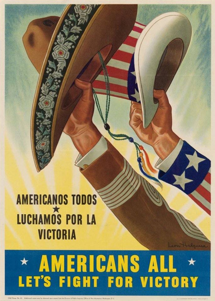 A poster depicting two hands raised holding up an Uncle Sam hat and a Mexican sombrero.