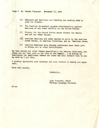 Letter from Alan Cranston to Norman Ferguson, Nov. 17, 1942_Page_2