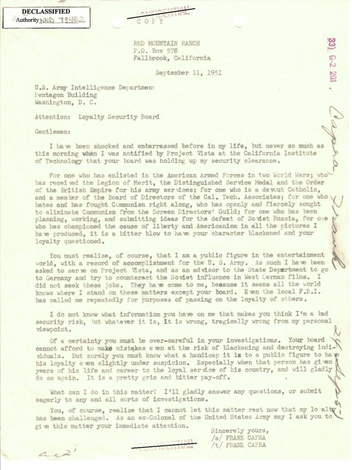 Image of Letter from Frank Capra to the U.S. Army Intelligence Department, Loyalty Security Board. September 11, 1951.