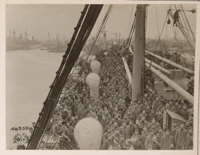 Ship's dock filled with soldiers