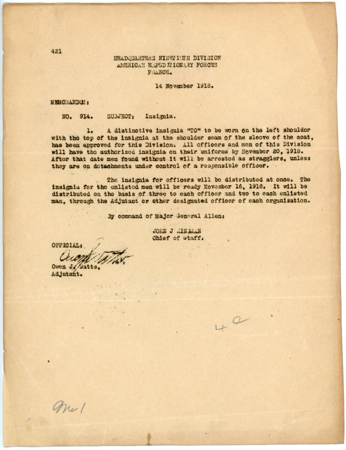 """memo about the """"TO"""" insignia of 90th Division"""