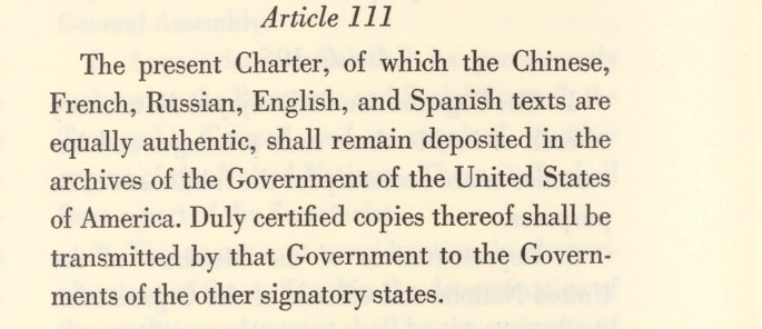 UN Charter.Article 111 Selected