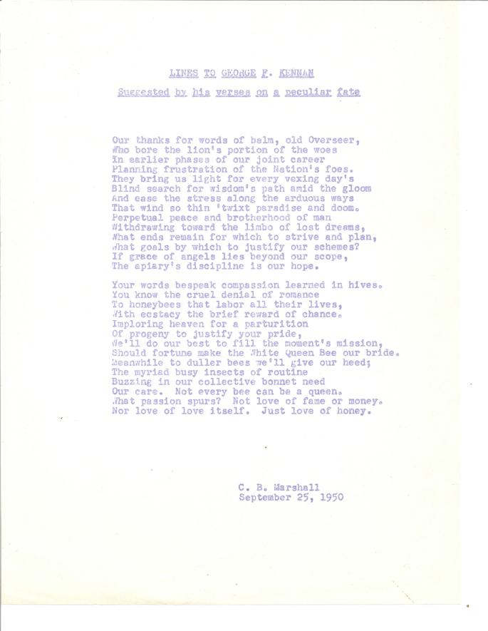 Response verse from Charles Marshall
