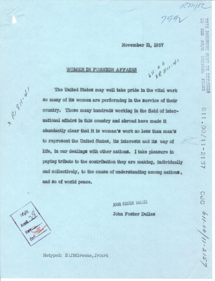 Sec of State Dulles praising women working in international affairs