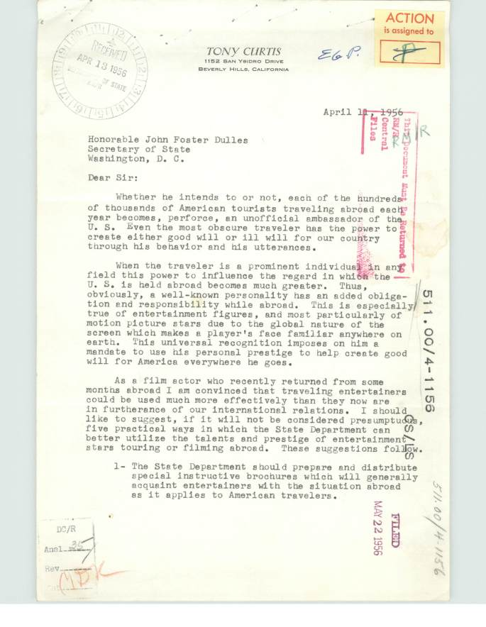 letter from Tony Curtis re: using people in the entertainment industry to further goodwill