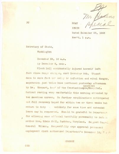 Letter, Dec 25, 1933, describing Hall's accident.