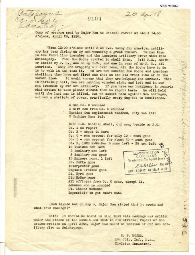 typed copy of message relaying operations at Seicheprey on April 20, 1918
