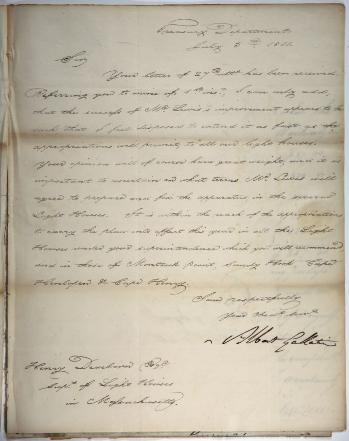 """Image of letter: Albert Gallatin to Henry Dearborn, July 5, 1811, lauding the """"success of Mr. Lewis's improvement"""""""