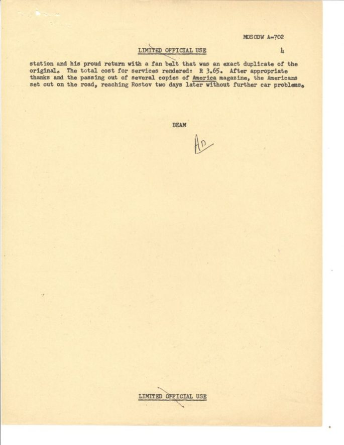 Airgram from American Embassy Moscow, report on performance of the 1972 Chevrolet