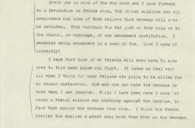 paragraphs of Slater Brown saying he looks forward to a revolution in France, reporting low morale of French soldiers, showing no support in American troops fighting the war