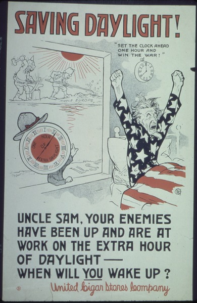 illustrated poster of Uncle Sam rising from bed, an analog clock with arms and a hat on its top sits on the windowsill