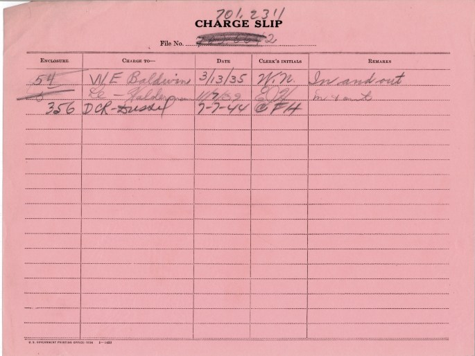Charge Slip with decimal number at the top, 3 rows have been filled out. The last row is for a document checked out on July 7, 1944