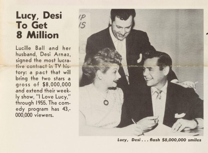 Lucy, Desi to Get 8 Million w/picture of Desi Arnaz & Lucille Ball smiling at each other