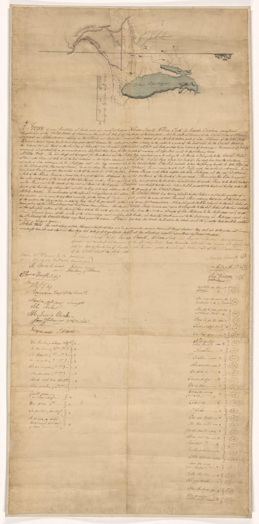 Lightened document with map drawn at top