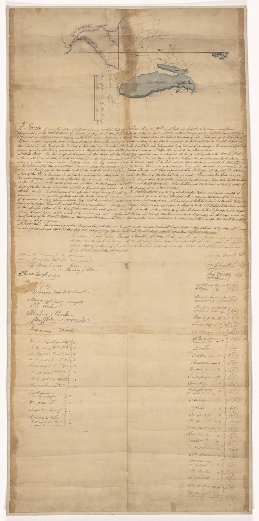 darkened document with map drawn at top