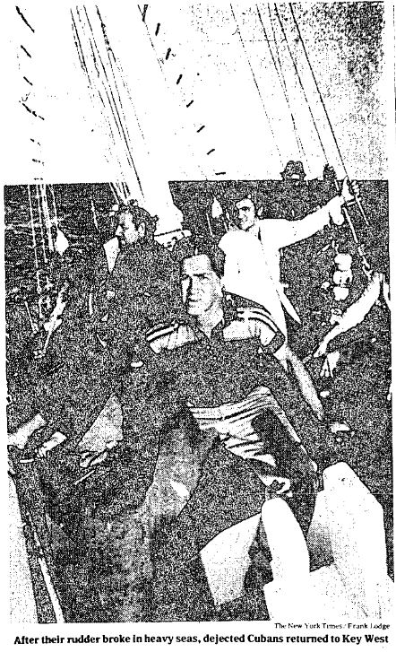 Cuban refugees on a sailboat, clipped from New York Times article