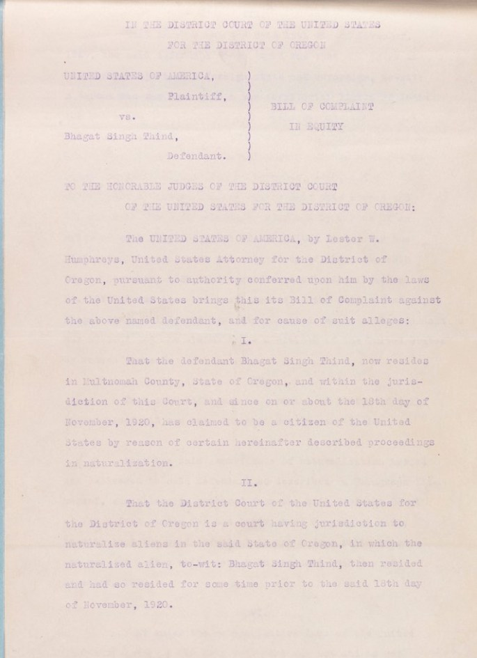 Bill of Complaint, Bhagat Singh Thind