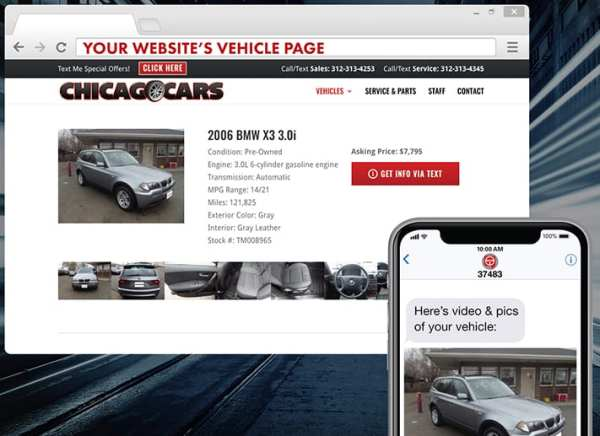 TEXTvehicle sends shoppers a text message with info about vehicles for sale