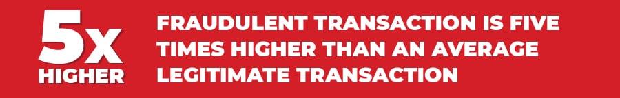 fraudulent transactions 5x higher than legit