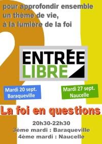 Soirée-débat : la foi en questions - Entrée libre - mardi 20 septembre 20h30-22h30