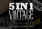 5 in 1 Vintage Font Bundle