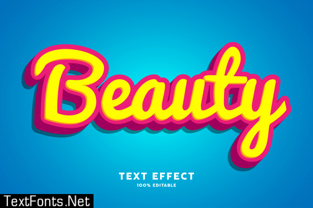 3d beauty red yellow font effect
