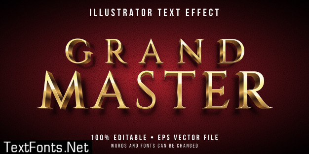 Editable text effect - golden master style