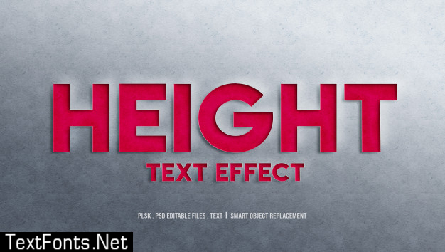 Height 3d text style effect
