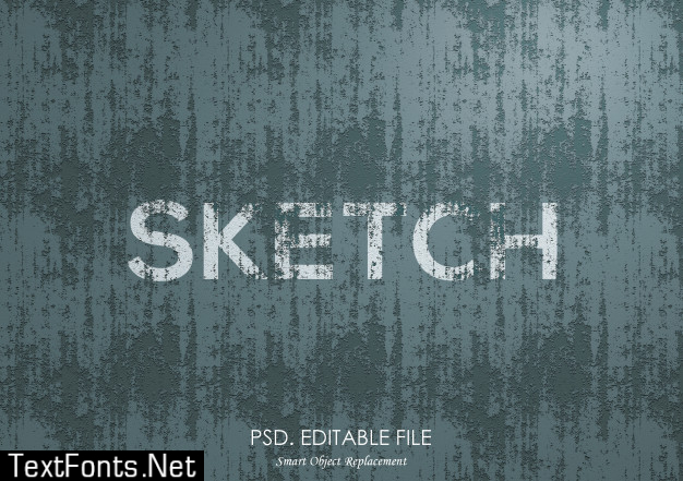 Sketch texture text effect mockup