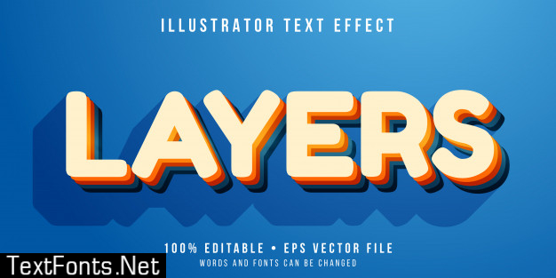 Editable text effect - layered text style