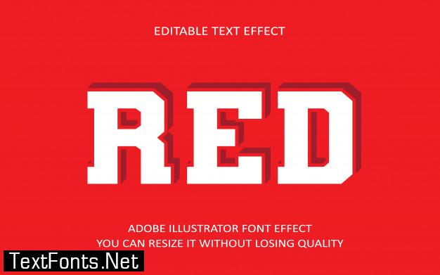 Red editable text effect