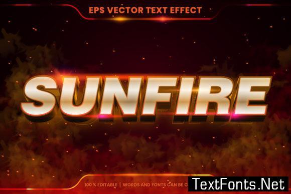 Editable Text Effect Sun Fire Words