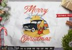 Merry Surf Christmas Logo Vector Graphic Label 8DLCNDD