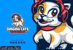 Singing Cats Cartoon Logo