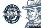 Smokers Vintage Engraving Logo Template