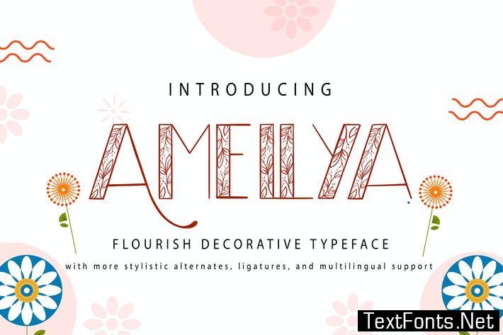 Amellya   Flourish Decorative Typeface