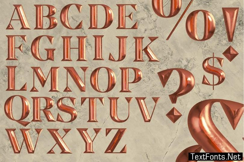 Gold Letters - 3D Alphabets and Numbers