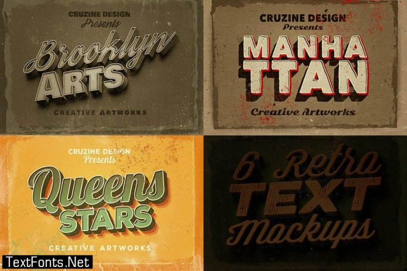 6 Retro/Vintage Text Mock-ups