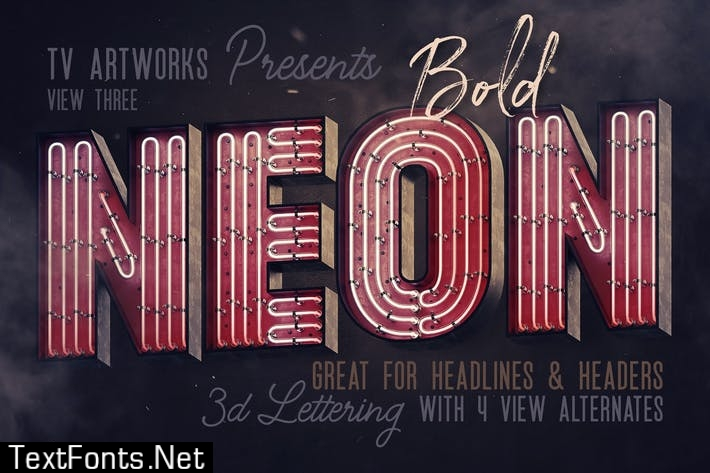 Bold Neon 3D Lettering View 3