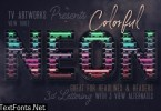 Colorful Neon 3D Lettering View 3
